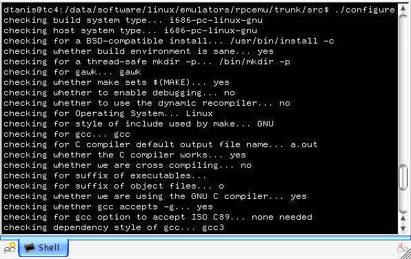 some output of the configure command